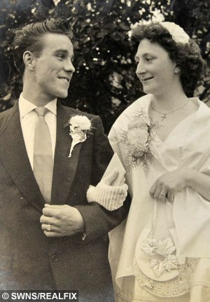 Rose and Harry Brookman pictured at their register office wedding in 1956. See SWNS story SWWED: An elderly couple have finally had their dream wedding almost 60 years after first tying the knot when they were too poor to do it in style. Rose Brookman, 79, had always dreamed of walking down the aisle in a white dress with childhood sweetheart Harry, 81. But they were forced to settle for a low-key event at a registry office in 1956 after Harry, one of 13 children, was told to leave home because his family was too big. By then he and Rose had been dating for seven years after meeting when they were 13 and 15 outside a cinema where their respective dates stood them both up.