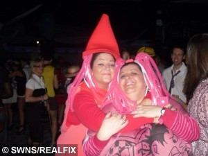 Lianne and Karley on a night out before their weight loss