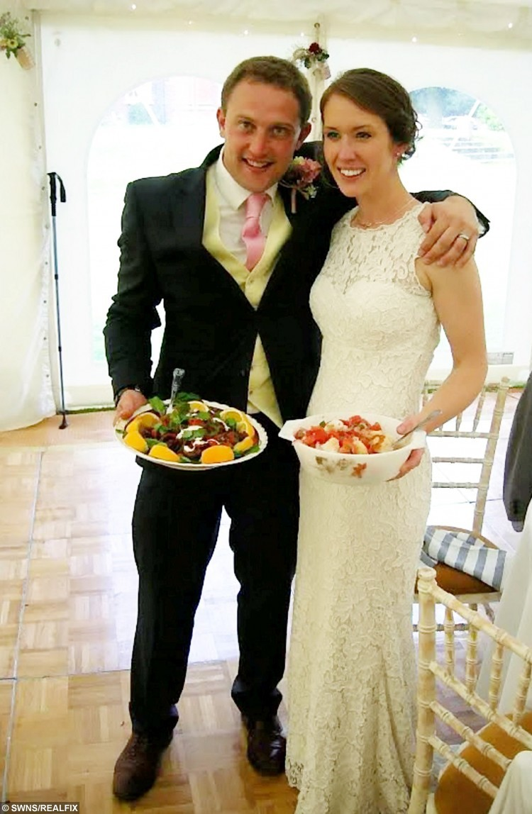 A bride and groom treated their wedding guests to a feast - made from 'recycled food' that was destined for rubbish bins.  See MASONS story MNRECYCLE.  Zoe Chambers and Charlie Loughlin used vegetables collected by a food waste charity to prepare two mouth-watering dishes for their wedding reception.  Around 150 guests enjoyed a Panzanella salad made from tomatoes, bread and potatoes that were being thrown away by supermarkets.  They were also offered Moroccan-style mixed vegetables using ingredients which had passed their best before dates.  The meals were prepared by charity Food Cycle which usually creates meals for people at risk of food poverty and isolation by using food discarded by shops.  Zoe and Charles bought beef from a local pub for the main course but had no idea what the first two courses would be.  The newlyweds made a food and cash donation to the charity rather than paying pricey caterers.