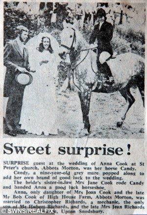 Newspaper cutting of Christopher and Anna Richards who were also visited by a horse on their wedding day in 1975.   A very special guest was on the wedding list for one Worcester bride.  See NTI story NTIHORSE.  Caroline Dunnell's much-loved horse Pip came to the churchyard at St John the Baptist church in Crowle to pose for pictures just after a ceremony in which she married Steven Dunnell.  The gelding even brought a gift of a good luck horseshoe - one of his own naturally - engraved with the names of the happy couple.  The visit has become part of an unusual wedding tradition for the bride's family as her parents Christopher and Anna Richards were also visited on their wedding day in 1975 by Mrs Richards's horse Candy.  Candy also brought a good luck horseshoe.