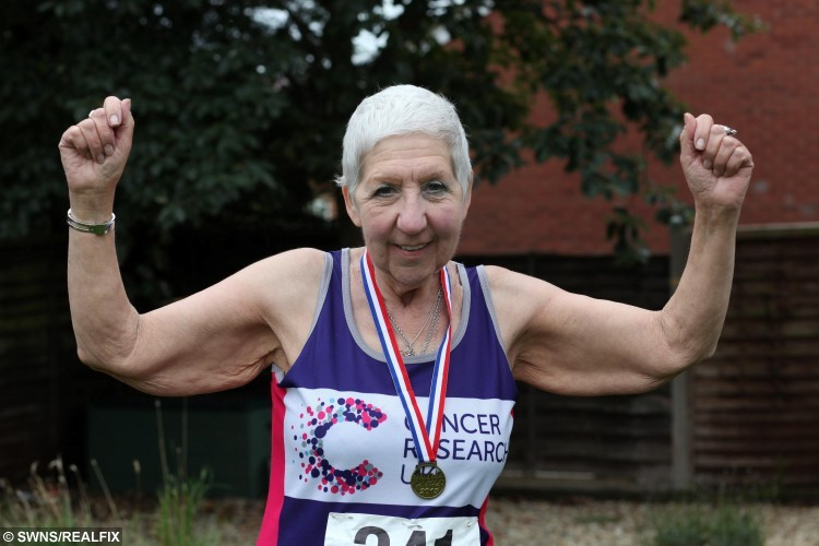 Janet Pfeiffer, aged 69,from Irthlingborough, Northamptonshire who is battling five different cancers. A brave retiree who is battling FIVE different types of cancer completed a 10K charity walk.  See NTI story NTICANCER.  Inspirational Janet Pfeiffer has already undergone numerous treatments and extended spells in hospital to battle the diseases.  She is currently waiting for the go-ahead for a liver operation due to take place at the end of the month.  The 69-year-old, from Irthlingborough, Northants., signed up for the annual fundraiser Stanwick Lakes Autumn Run and walked the 10K course on Sunday (6/9).  Janet is fundraising for Cancer Research UK and is currently halfway through her Ã1,000 target.