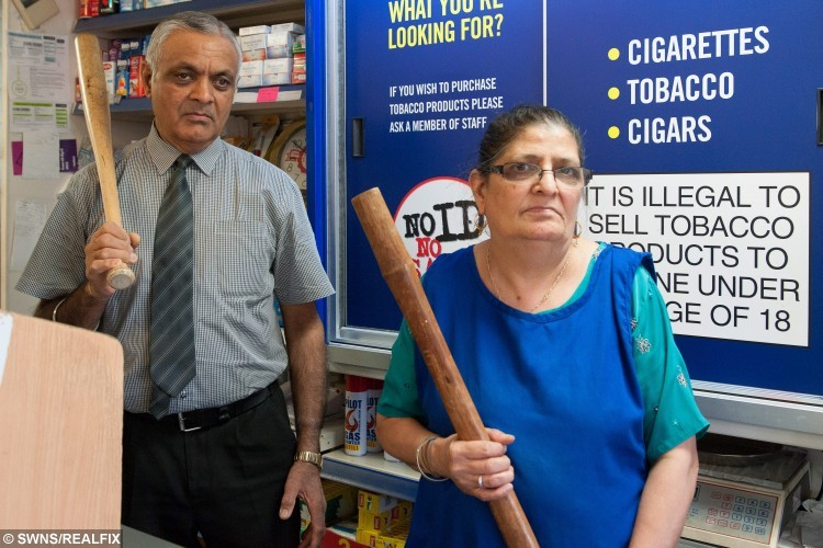 Mr Sharinder Gill, 67 and his wife Mrs Rasham Gill, 67, who gave robbers a run for their money in an attempted armed robbery at their store. See NTI story NTISCREAM.  The attackers wearing scream masks met their match as Mrs Gill hit one on their hand knocking the knife he was holding onto the floor while her husband reached for a bat. Realising they had met their match the would be robbers took off into the night empty handed.