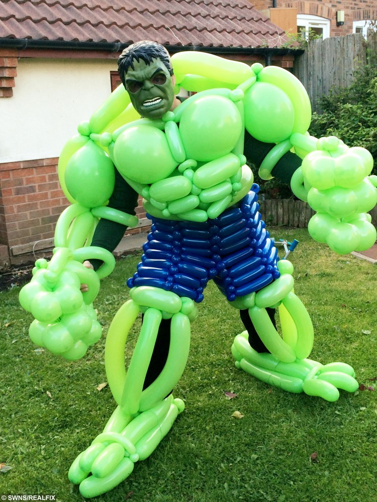 Dad creates superhero suits out of BALLOONS to inspire ...