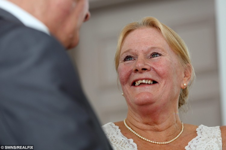 Bride Christine Sharlotte (nÃe Carroll) looks at her Groom Taffy Sharlotte, who suffers from a form of dementia, during their wedding ceremony, at Leeds Town Hall, in Leeds, West Yorkshire, on 15 September 2015. See Ross Parry Copy. RPYWED: Love-struck Christine Carroll has speedily arranged a wedding to her dementia-suffering soul-mate Taffy Sharlotte so that they can tie the knot while he still remembers her. The pair met just three years ago and thought they had the rest of their lives to share together until they received the bombshell that 62-year-old Taffy was suffering with a horrifying life debilitating form of dementia. Yesterday was a happy day as they married in a quiet ceremony with friends and family at Leeds Town Hall, West Yorks., but it was tinged with sadness as they know Taffy will deteriorate over time. Only the day before the wedding father-of-five Taffy was upset because he could not remember his name, and worried how he would be able to sign the register.