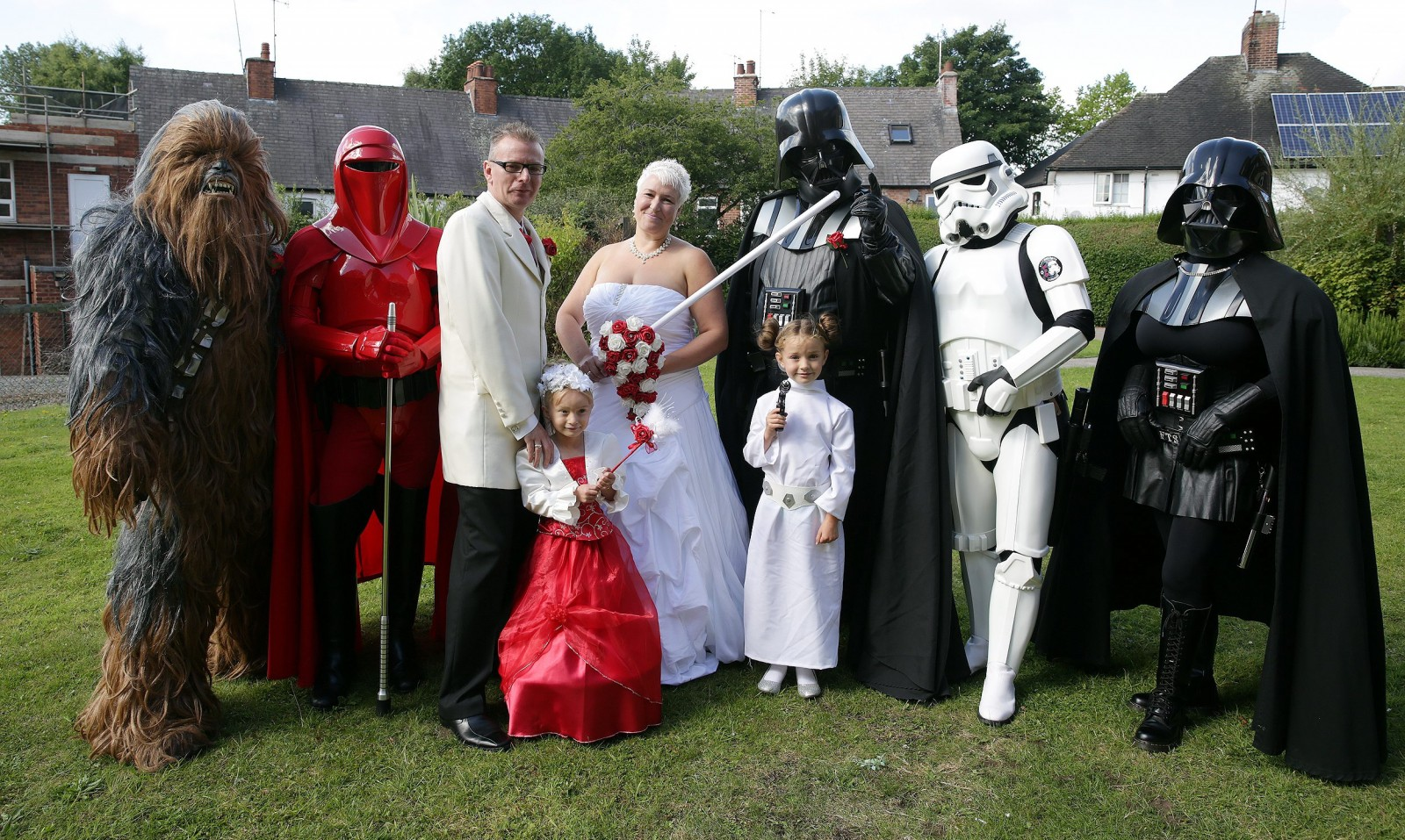 Take two Darth Vaders, a Storm Trooper and a Wookie and you've got yourself one heck of a wedding
