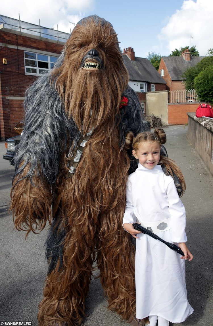 Lee Bowder and Pip Stephenson at their Star Wars themed wedding in Chesterfield. Chewbacca and Princess Leya aka Glenn and Lois Baggaley. See Ross Parry copy RPYSTAR : The force was strong at Chesterfield Registry Office on Friday when a cast of characters from a galaxy far, far away arrived to celebrate the wedding of two of their own. A stormtrooper stood guard as a wookie, two Darth Vaders, an Imperial Guard and a Princess Leia arrived along with many other guests more traditionally attired. Fulfilling their destiny were Lee Bowder and Pip Stephenson from Selstone, who are both active members of the East Midlands Garrison, a Star Wars Ãcosplayà organisation based in Derby. Groom Lee Bowdler, dressed immaculately in a cream jacket and red cravat, said: ÃI just thought it would be nice for the area and might put a smile on people's faces.
