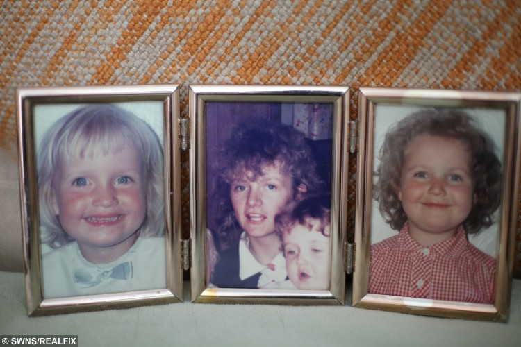 Rebecca wright, 29 and sister Marie Clare Wright, 31  from Darlington, who had their mother Clare's ashes stolen in a home burglary and are appealing for them to be returned. Collect photo of the late Clare at 18 years old before she had cancer, with picture of daughter Rebecca (right) and Marie (left). See Ross Parry copy RPYASHES
