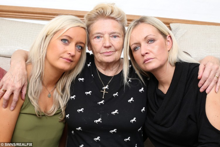 Rebecca wright, 29 and sister Marie Clare Wright, 31  from Darlington with grandmother Angeline, 77, who had their mother Clare's ashes stolen in a home burglary and are appealing for them to be returned. See Ross Parry copy RPYASHES