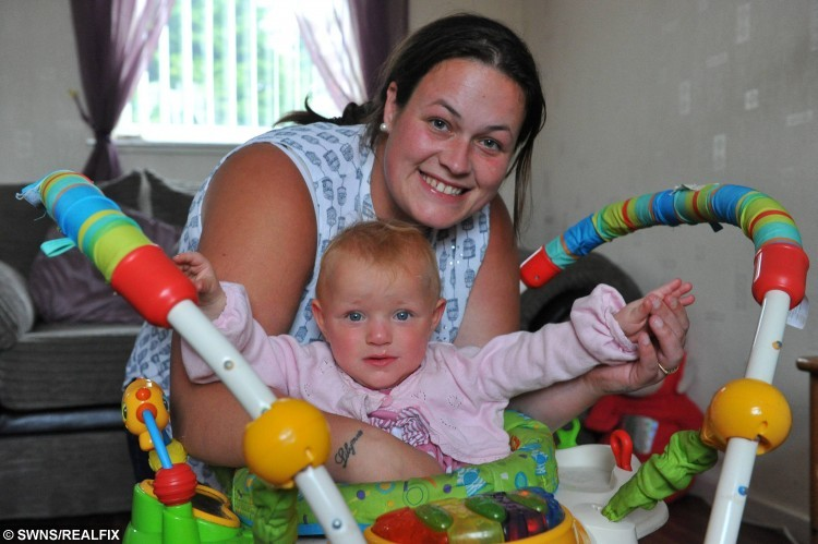 "Isobelle Webb in a baby walker donated to her after hers was stolen. Pictured with her mother Laura Shepherd. See Ross Parry copy RPYTHIEF : These images show the moment a callous thief was caught on camera stealing a baby bouncer from garden. The shocking images show the crook breaking into Laura Shepherd and Steven WebbÃs garden as stealing their daughter, Isobelle WebbÃs, much-loved Jumperoo. Laura, 24, said: ""I felt physically sick when I found out the Jumperoo had been stolen from my baby. ""The night before, we had a bad night with Isobelle and were all so tired, we ended up falling asleep downstairs early."