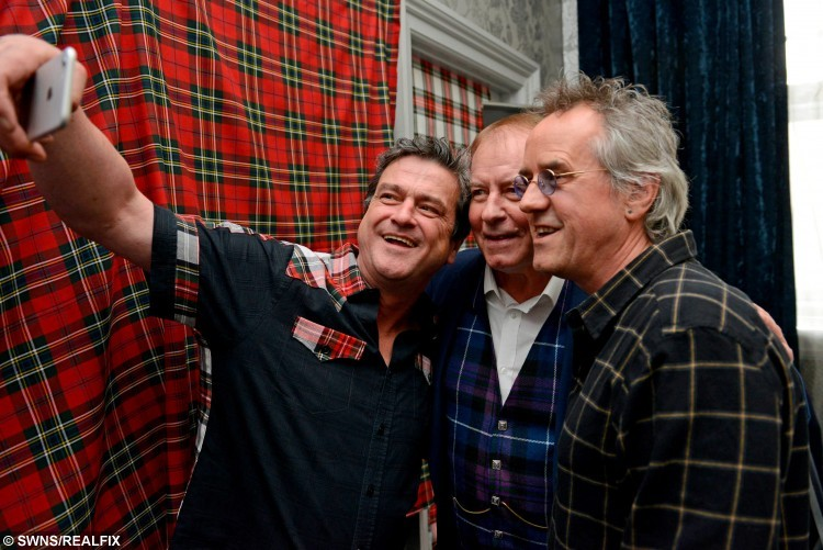 Left to right; Stuart Wood (Woodie), Les McKeown, and Alan Longmuir, three members of the Bay City Rollers, at the Central Hotel, Glasgow, unveil plans to reunite the band and do a world tour, September 22, 2015.
