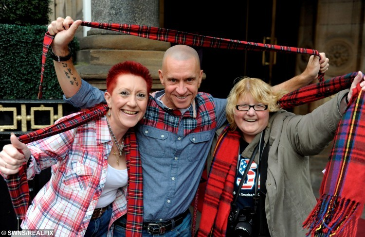 Fans of the Bay City Rollers, at the Central Hotel, Glasgow, as the band unveil plans to reunite the band and do a world tour, September 22, 2015.