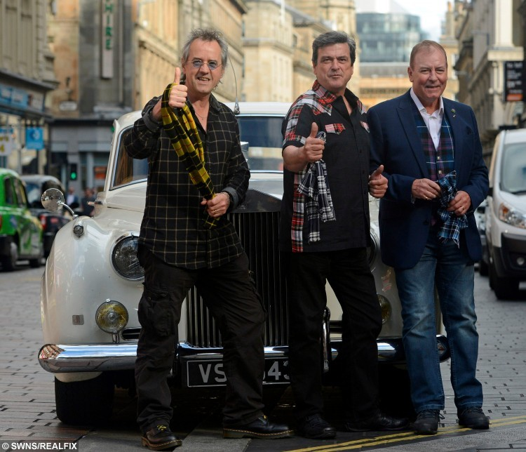 Stuart Wood (Woodie), Les McKeown, and Alan Longmuir, three members of the Bay City Rollers, at the Central Hotel, Glasgow, unveil plans to reunite the band and do a world tour, September 22, 2015.