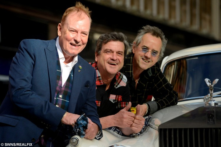 Stuart Wood (R), Les McKeown (Centre), and Alan Longmuir(L), three members of the Bay City Rollers, at the Central Hotel, Glasgow, unveil plans to reunite the band and do a world tour, September 22, 2015.