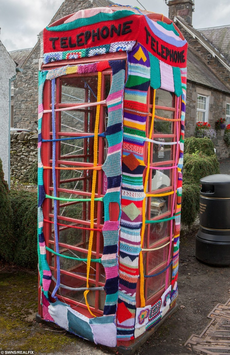 "Wome from Selkirk, Ettrickbridge and Yarrow, in the Scottish Borders who are a team of ""guerrilla knitters"" have decorated local landmarks with crochet and knitted art. See Centre Press story CPKNIT. A 104 year old knitter who has Ãyarn bombedà her local town is thought to be the world's oldest street artist. Grace Brett is a member of a secret band of guerilla knitters, who have bedecked their town in artful knitting. Called the Souter Stormers, the group hit various landmarks in Selkirk, Borders, with their yarn work last week, following hours of preparation.  Members of the yarn bombing team are mainly over 60, but Grace à the oldest à has lived over a century."