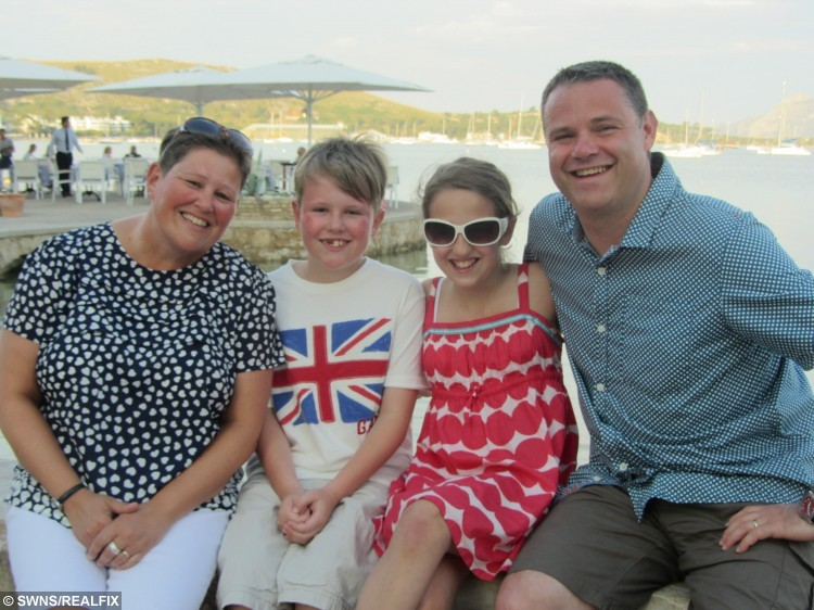 """Collect picture. (Left - right) Becky Peabody, 41, with son Sam, 8, daughter Sophie, 11, and husband Jeff, 43, on holiday in Majorca, May 2013. Peabody was inspired to lose weight after seeing a photograph of herself in a magazine. A mum-of-two has lost six stone and reached her ideal weight - after being horrified at the sight of herself in glossy property magazine.See swns story SWMAG. Designer Becky Peabody, 44, was delighted when Ideal Home magazine asked to feature her Victorian home. But she was mortified at how her 15 stone figure looked in the issue and was shamed into changing her fat-filled diet.Three years on Becky runs three times a week and swapped her baggy size 18 clothes for a stylish new size eight wardrobe. She said: """"I've always been overweight and always been on a diet of some kind, but when a picture of myself was printed in Ideal Home magazine for the all to see, I was nudged into taking action. """"One of my proudest moments, having my house featured in a glossy magazine, was dulled by the embarrassing photo of myself staring back from the pages. """"My mother was showing the photo to the world, and what should have been a lovely moment was 'oh my god, I look horrendous'. """"I knew I had to do something."""""""