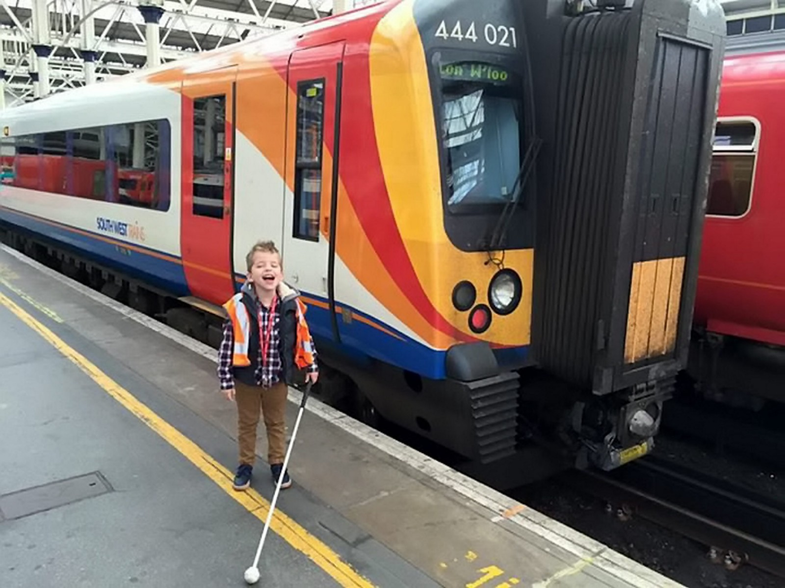Brave seven-year-old who is going blind has dream day driving a train