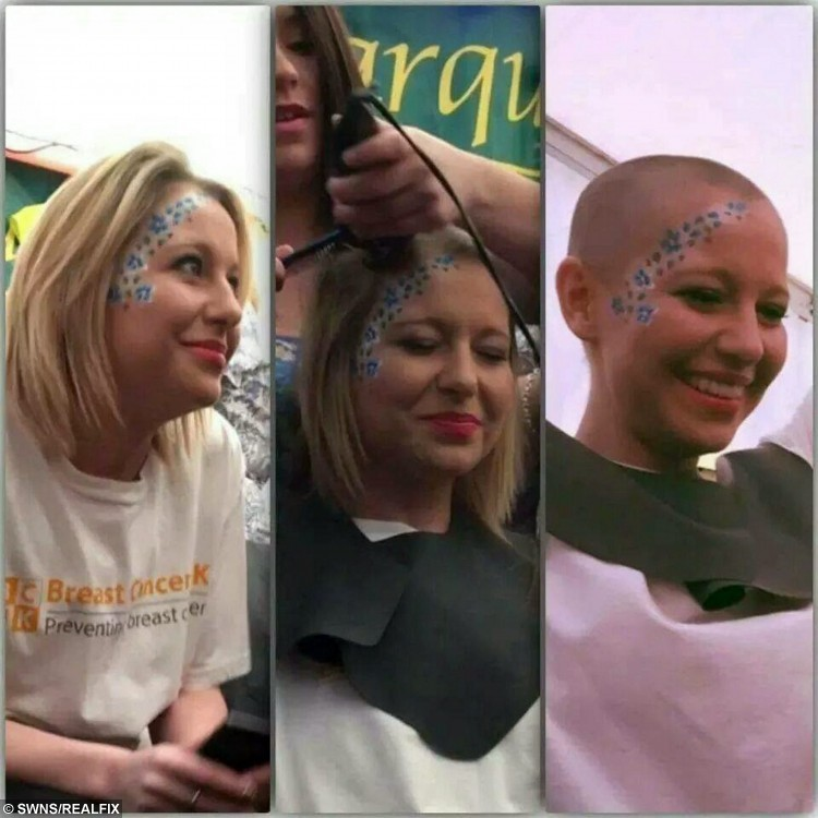 """Brave Abi Rounds pictured having her head shaved before she began chemotherapy. See SWNS story SWVIDEO; A young mum who was diagnosed with breast cancer aged just 22 broke the news to her family and friends - via a viral FACEBOOK video. Brave Abi Rounds, now 23, feared the worst when doctors told her she had two cancerous lumps last year but quickly decided she would """"kick cancer's butt"""". The stunning mum - who had watched her own mother and aunt fight the disease - was shocked by the diagnosis but wanted to let all her friends know at the same time. She made an online video breaking the devastating news to her pals, but vowing to do everything it takes to beat the disease with the support of her friends and family"""