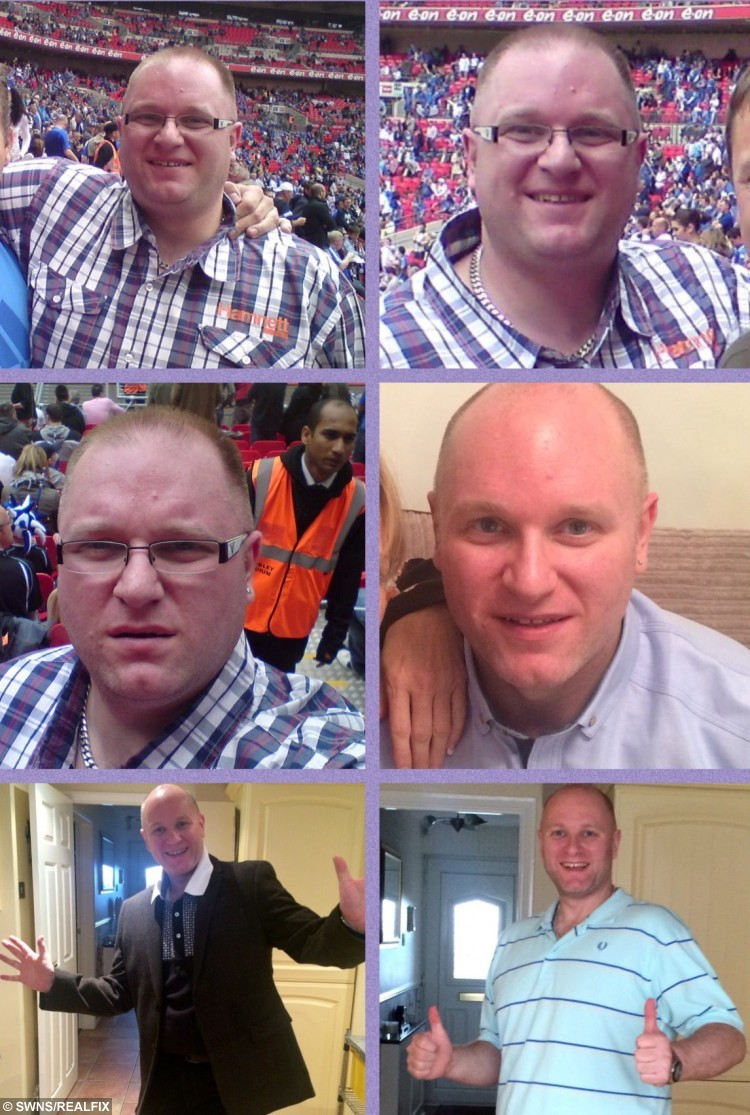 A montage of pictures showing Steve Laywood's battle against the bulge. See SWNS story SWFAT: A father who ballooned to 28 stone shed nearly half his body weight - after his wife of 15-years left him because she didn't fancy him any more. Retail manager Steve Laywood, 40, piled on the pounds during the course of his marriage due to irregular shift patterns. He gorged on junk food, often with bread and pizza, and would snack on chocolate bars and crisps throughout the day. But determined Steve decided to turn his life around after his wife told him she no longer found him attractive and left him after 15 years of marriage.