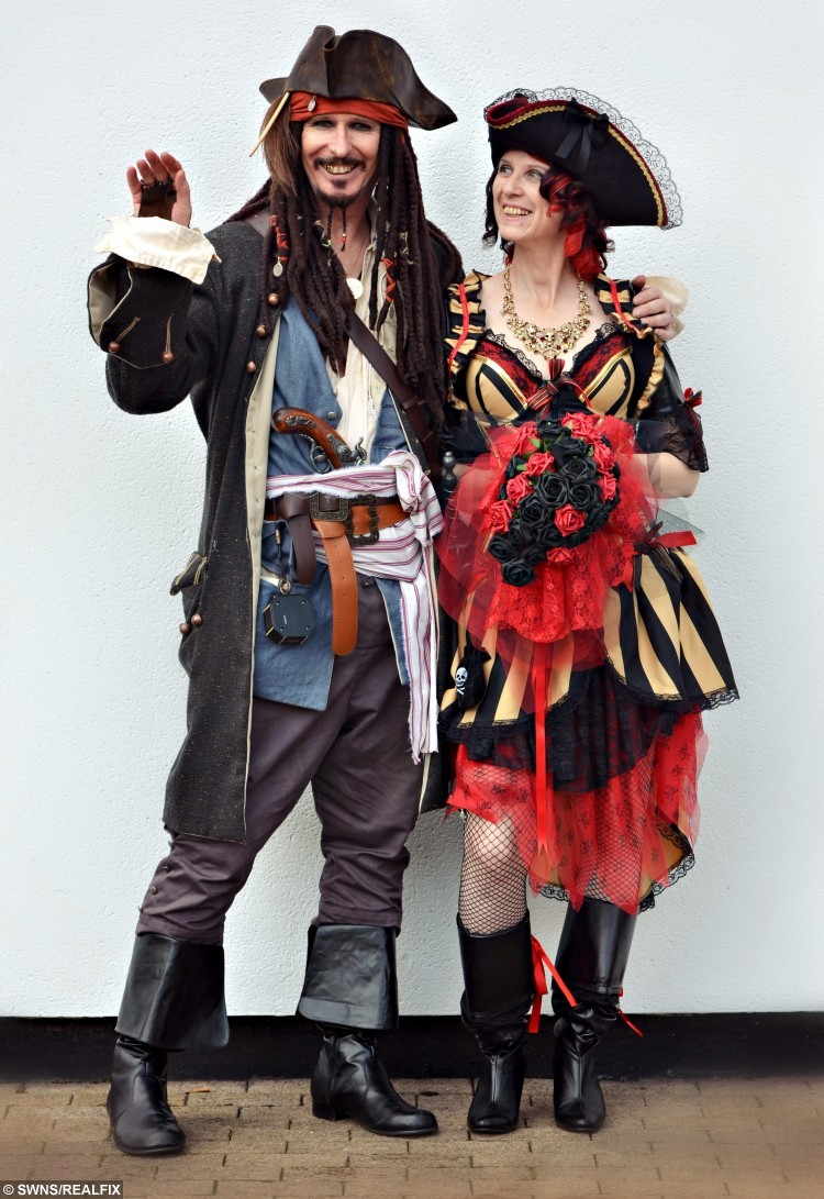 Steve Holden and his wife Karen Ruffell pictured on their 'Pirates of the Caribbean' themed wedding day. See SWNS story SWPIRATES: A groom thrilled his future wife by transforming into Jack Sparrow - for a Pirates of the Caribbean themed wedding. Eccentric Steve Holden, 57, has always been a big fan of the Hollywood blockbusters and had proposed to his partner Karen Ruffell, 52, while dressed as the outlandish pirate. On their first date she told him she would only ever marry Jack Sparrow, the character played by Johnny Depp, so after they got together Steve seized the opportunity to ask her while in full regalia on a pirate ship - in the Caribbean. And they then turned their local Holiday Inn into a pirate scene for the big day, and tied the knot in front of an expectant crowd of amateur pirates.