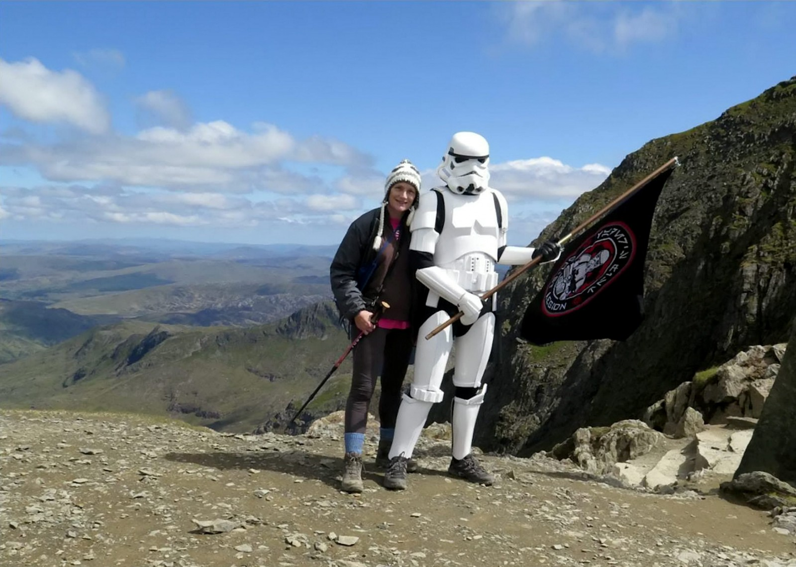 Stormtrooper scales UK's highest mountain with a flag and… his mum?!