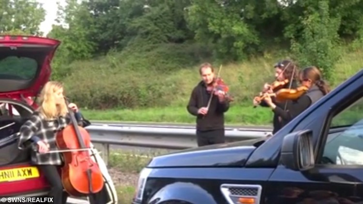 """The unusual moment that the stranded motorist ont he M5 in Devon were entertained by a string quartet. See SWNS story SWQUARTET: Motorists left stranded on a motorway were treated to an impromptu roadside concert - by a STRING QUARTET. The M5 was closed after several animals became agitated after a vehicle pulling a horse box broke down. But with traffic brought to a standstill a talented quartet got out of their cars, set up their instruments and delighted travellers with their beautiful music. Footage of the roadside concert was filmed by Helen Delingpole, 45, of Ferndale, Wales, who wrote: """"A horse escaped on the M5 today on our way back from Devon, causing a complete stand-still and a string quartet to play."""""""