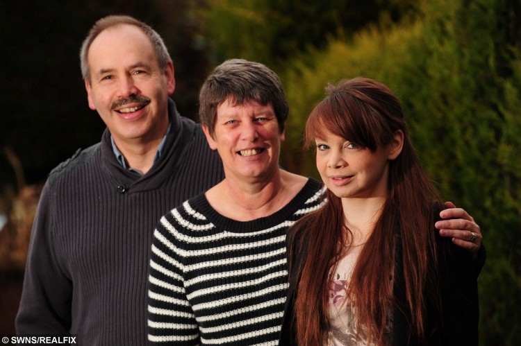 Rebecca with her parents