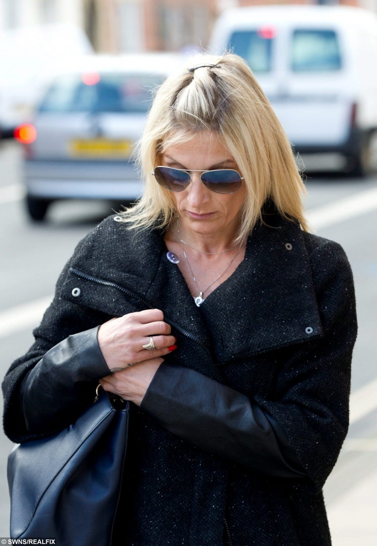 FILE PICTURE - Linked to todays story NTISCAM, October 9, 2015, about how Matthew Samuels has been found guilty at Worcester Crown Court. Anne Ruddock, ex partner of Matthew Samuels leaves Worcester Crown Court, Worcester, September 17 2015.  Samuels scammed wealthy women of out thousands of pounds after wining and dining them. The former car salesmen is on trial for fraud.  See NTI story NTISCAM.