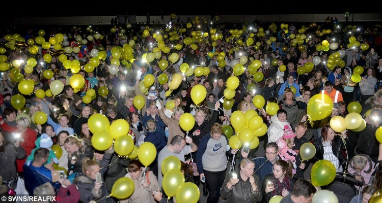 Hundreds of people gathered at Seaton Carew near Hartlepool to release yellow balloons for Jacob Jenkins, who was in a coma after choking on a grape in his local Pizza Hut. Sadly just after the balloon release his mother Abigail Wilson announced that two year old Jacob had died in his parents arms at Newcastle RVI hospital.October 15 2015. SEE RPYGRAPE A toddler who was in a coma after choking on a grape in Pizza Hut has died, his family have said. Jacob Jenkins, two, was eating with his parents when the fruit became lodged in his throat. By the time medics arrived Jacob's heart had stopped but as they rushed the youngster to hospital they managed to restart it.