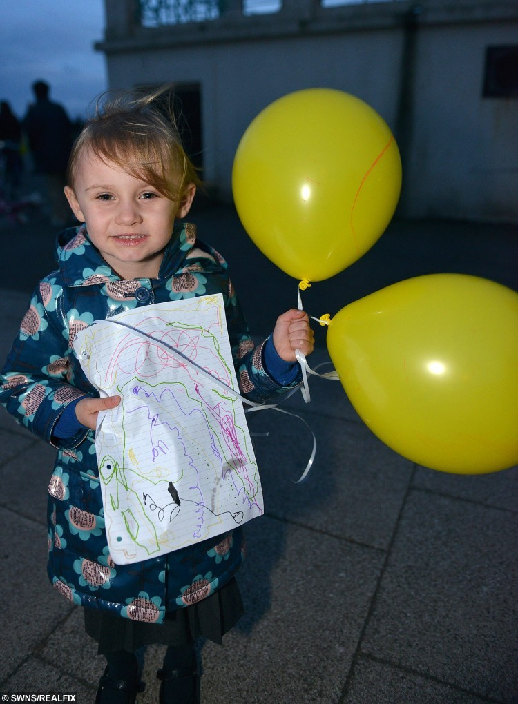 Eleanor Reynolds joined Hundreds of people gathered at Seaton Carew near Hartlepool to release yellow balloons for Jacob Jenkins, who was in a coma after choking on a grape in his local Pizza Hut. Sadly just after the balloon release his mother Abigail Wilson announced that two year old Jacob had died in his parents arms at Newcastle RVI hospital.October 15 2015. SEE RPYGRAPE A toddler who was in a coma after choking on a grape in Pizza Hut has died, his family have said. Jacob Jenkins, two, was eating with his parents when the fruit became lodged in his throat. By the time medics arrived Jacob's heart had stopped but as they rushed the youngster to hospital they managed to restart it.