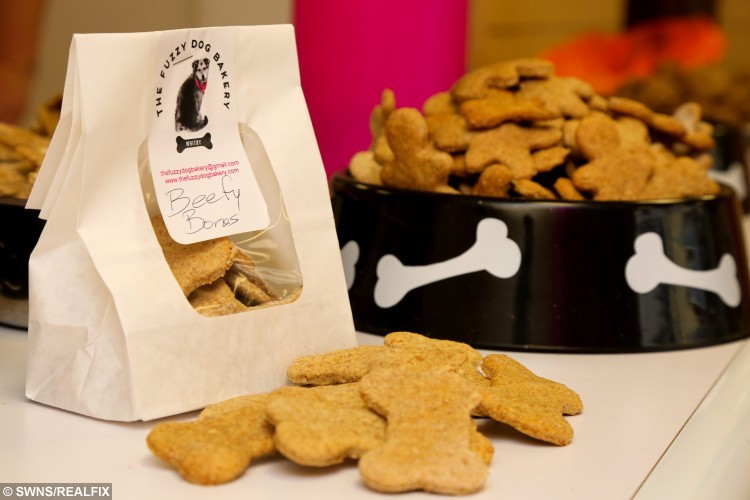 Tasty home made dog treats at the new Fuzzy Dog Bakery in Whitby, North Yorkshire. It specialises in home-made treats for dogs including beefcakes, porky rolls and bloody bats. The treats, baked by Lou are free from additives and preservatives unlike many shop-bought dog treats. Owners wanting to but their dogs quality, clean products is growing in the UK. October 26 2015.