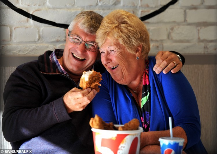 Devoted Bob, 68 and Pat Fogg, 66 who met at KFC. See Ross Parry copy RPYKFC. A couple who have been together for 50 years say the secret to their long marriage is - KFC. Devoted Bob and Pat Fogg met at a branch of the fried chicken restaurant - and go back every week to the table where they fell in love. Bob and Pat, who have been married 44 years, first saw each other at KFC in Preston, Lancs,.- the UK's first ever branch. The lovebirds, who met when they were both students, were even recently invited back to the takeaway to celebrate the restaurant's 50th anniversary.