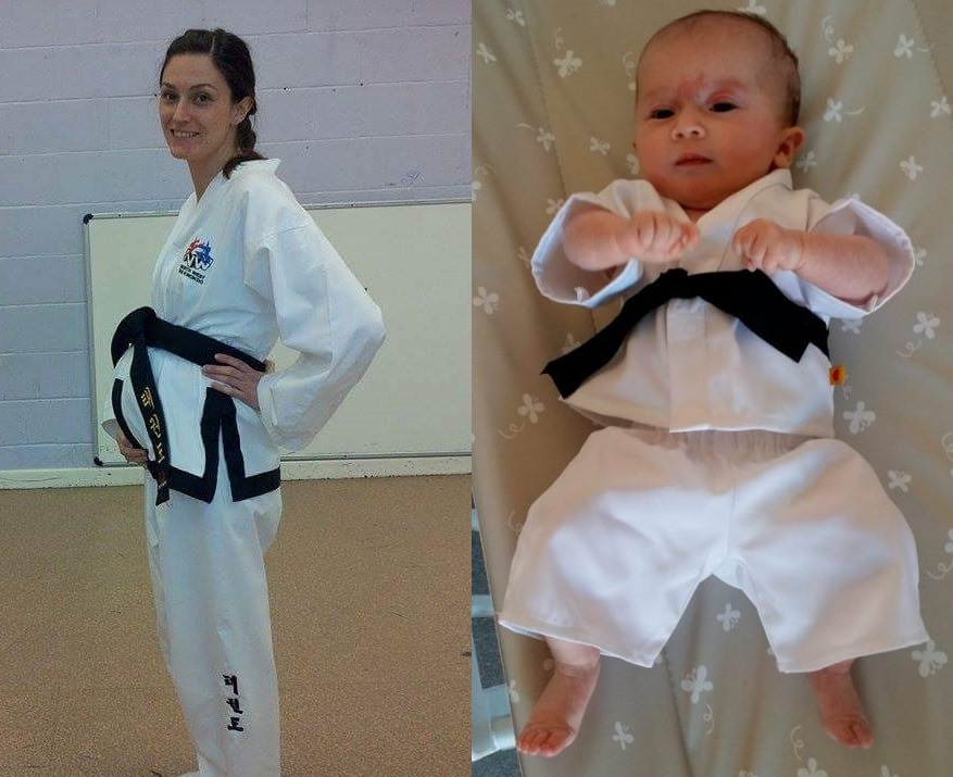 A black-belt mum who trained six days a week while pregnant has given birth to a taekwondo baby