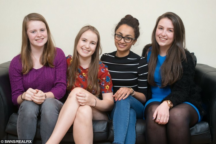 Alice Byron, 20, (second from left) poses for a portrait with her sister Izzy Byron, 15, (left) and friends Harleen Mandla, 21, (second from right) and Lydia Bennett, 20, (right) where she lives in Cardiff, Wales. October 22 2015.  Alice, an English Literature student at Cardiff University from Oxfordshire suffers from a rare blood disorder and needs a bone marrow transplant. See SWNS story SWMARROW; A student with a rare blood disorder is hunting for a bone marrow donor match among fellow undergraduates - before she develops LEUKAEMIA. The fate of Alice Byron, 20, now lies in the hands of a complete stranger after she was diagnosed with the illness that causes a drop in healthy blood cells. Despite none of her family being a match, medics have told the third year student that her one of her peers at Cardiff University could give her a life-saving bone marrow transplant. Now she is appealing for help from fellow undergraduates who are more likely to be a match.