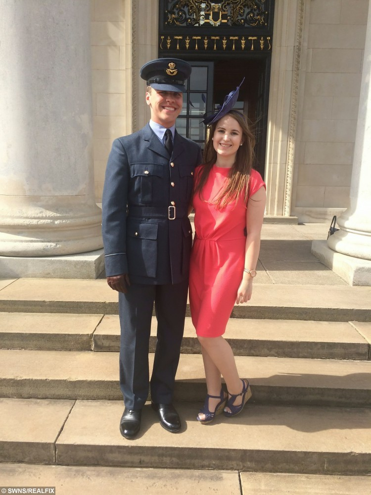 Collect picture. Alice Byron, 20 (right) with boyfriend Matthew Ash, 21, (left) in Lincolnshire. Just before Alice was diagnosed. June 2015. See SWNS story SWMARROW; A student with a rare blood disorder is hunting for a bone marrow donor match among fellow undergraduates - before she develops LEUKAEMIA. The fate of Alice Byron, 20, now lies in the hands of a complete stranger after she was diagnosed with the illness that causes a drop in healthy blood cells. Despite none of her family being a match, medics have told the third year student that her one of her peers at Cardiff University could give her a life-saving bone marrow transplant. Now she is appealing for help from fellow undergraduates who are more likely to be a match.