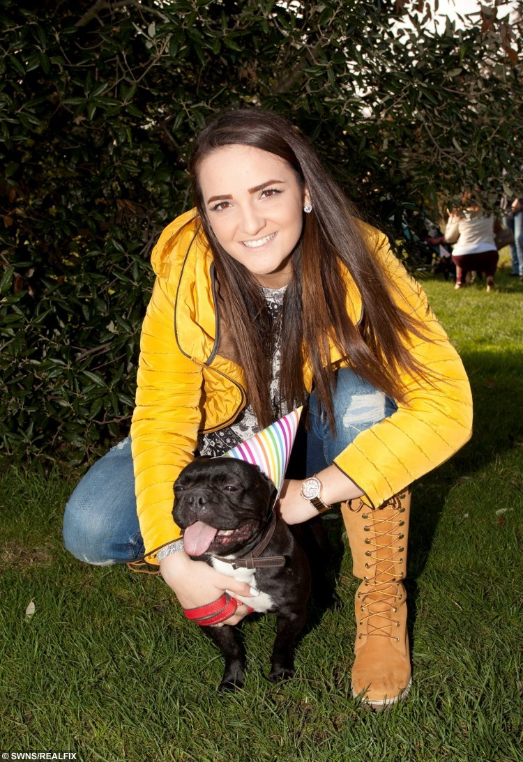 Amy O'Connor, 18, with her French bulldog, Frankie, as they celebrate its first birthday with the other 12 puppies born to mother Roxie (right)  See SWNS story SWPUPPIES: This is the moment BritainÃs largest litter of French bulldogs were reunited with their mother à on their first BIRTHDAY. The breed typically births three pups at a time but Roxy, now four years old, had a massive litter of 13 pups a year ago and they were all separately re-homed apart from daughter Frankie. Against the odds they all survived and she was reunited with 11 of them when their new owners travelled from hundreds of miles away for them to play together on their first birthday. The seven brothers and four sisters reunited with their mum in RegentÃs Park in central London on Sunday afternoon à and their owners couldnÃt tell them apart. RoxyÃs owner, 18-year-old Amy OÃConnor, of Hillingdon, west London, arranged the meet up exactly a year on from their births to celebrate their miraculous survival à because the odds of all 13 pups in the record-breaking litter surviving are tiny.