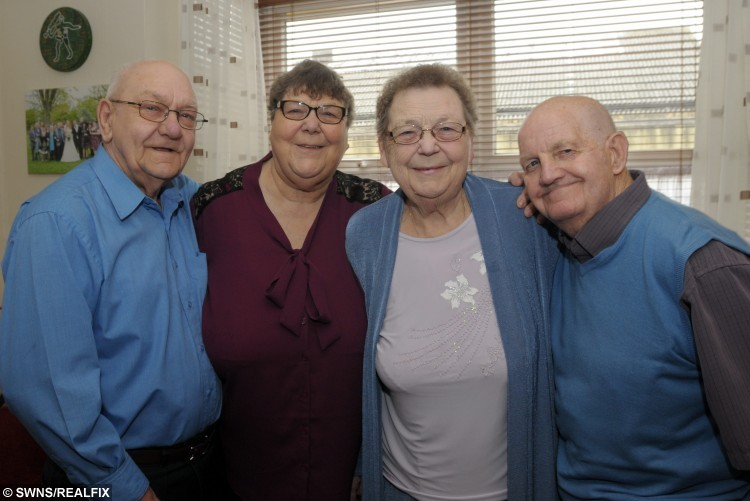 (L-R) Bob and Christine Hadlet with sister, Shirley, and her husband, Leslie Ralph. A pair of sisters had something to celebrate this week, when they marked their impressive Diamond wedding anniversaries à on the SAME DAY. See SWNS story SWWED; Shirley and Christine married their sweethearts Bob Handley and Leslie Ralph in the same ceremony on October 29, 1955. Now, 60 years later, Shirley Ralph and Leslie Handley were all smiles again after celebrating 60 years of marriage, each. The loved-up foursome first locked eyes while dancing at Pleasurama in Thanet, Kent, and have never looked back.