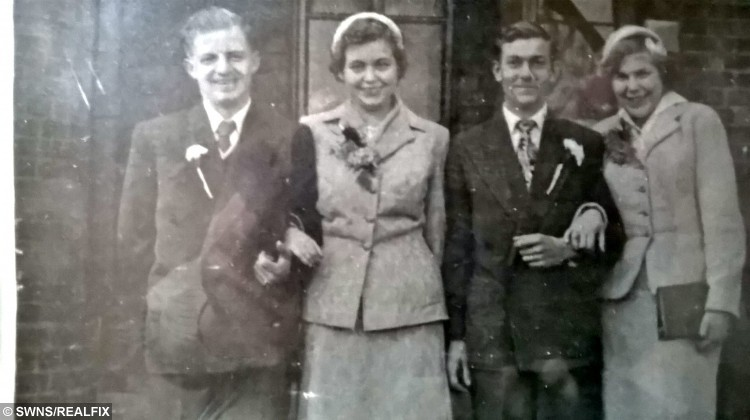 (L-R) Leslie and Shirley Ralph, Bob and Christine Hadlet. A pair of sisters had something to celebrate this week, when they marked their impressive Diamond wedding anniversaries à on the SAME DAY. See SWNS story SWWED; Shirley and Christine married their sweethearts Bob Handley and Leslie Ralph in the same ceremony on October 29, 1955. Now, 60 years later, Shirley Ralph and Leslie Handley were all smiles again after celebrating 60 years of marriage, each. The loved-up foursome first locked eyes while dancing at Pleasurama in Thanet, Kent, and have never looked back.