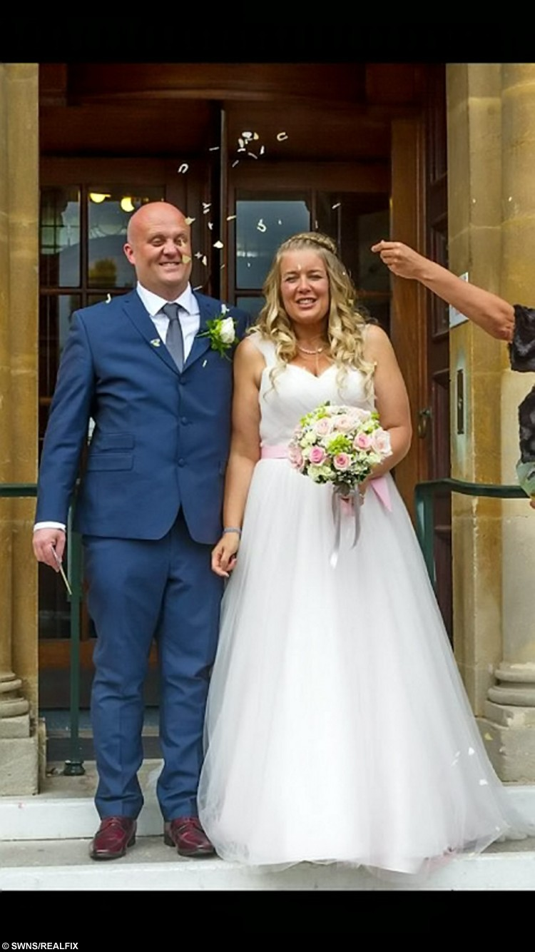 Emma Robinson, 34, with husband Matt on their wedding day. See SWNS story SWWALK; An overweight mum managed to drop an impressive eight dress sizes in time for her wedding by walking the distance from London to Rome - taking 10,000 steps every DAY. Emma Robinson once tipped the scales at almost 20 stone after years of gorging on three cheeseburgers at a time. But after being too ashamed to try on wedding dresses eight months before her big day, mum-of-two Emma decided to lose some weight by swapping chips for trips and walking 10,000 steps every day. Now Emma, who tied the knot to partner Matt last month, managed to walk an impressive 1,200 miles, and shed a huge six-and-a-half stone and eight dress sizes before she walked a few more steps, down the aisle.