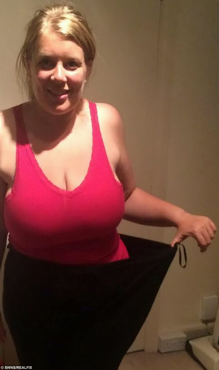 Emma Robinson, 34, pictured after her dramatic weight loss. See SWNS story SWWALK; An overweight mum managed to drop an impressive eight dress sizes in time for her wedding by walking the distance from London to Rome - taking 10,000 steps every DAY. Emma Robinson once tipped the scales at almost 20 stone after years of gorging on three cheeseburgers at a time. But after being too ashamed to try on wedding dresses eight months before her big day, mum-of-two Emma decided to lose some weight by swapping chips for trips and walking 10,000 steps every day. Now Emma, who tied the knot to partner Matt last month, managed to walk an impressive 1,200 miles, and shed a huge six-and-a-half stone and eight dress sizes before she walked a few more steps, down the aisle.