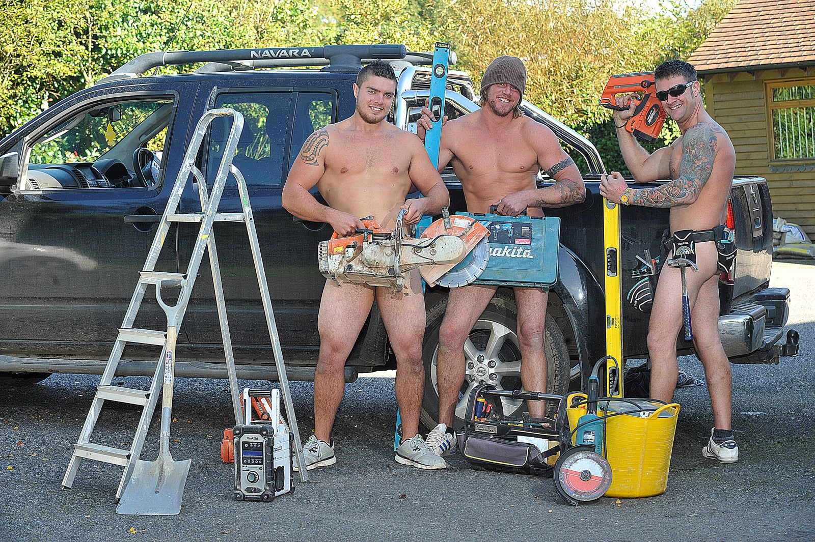 Builders in the buff! Trio strip off once a week to appease their fans