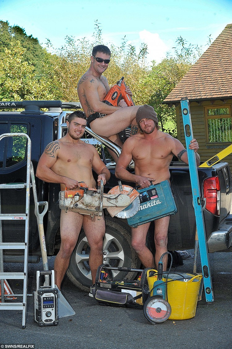 L-R Boyd Francis, Stephen Tibbals & Roger Richards. See SWNS story SWNAKED; Boss Stephen Tibbals, 36, and his workers Boyd Francis, 24 and Roger Richards, 42, have been attracting attention from across the country with their raunchy Friday photoshoots. The handsome hunks strip to the waist à or even more à and then pose for pics while swinging their hammers. Stephen, who uploads the photos to his Facebook page, said: ÃIt only started as a little bit of fun. ÃI took a selfie on the first sunny day of summer and has just kind of snowballed since.
