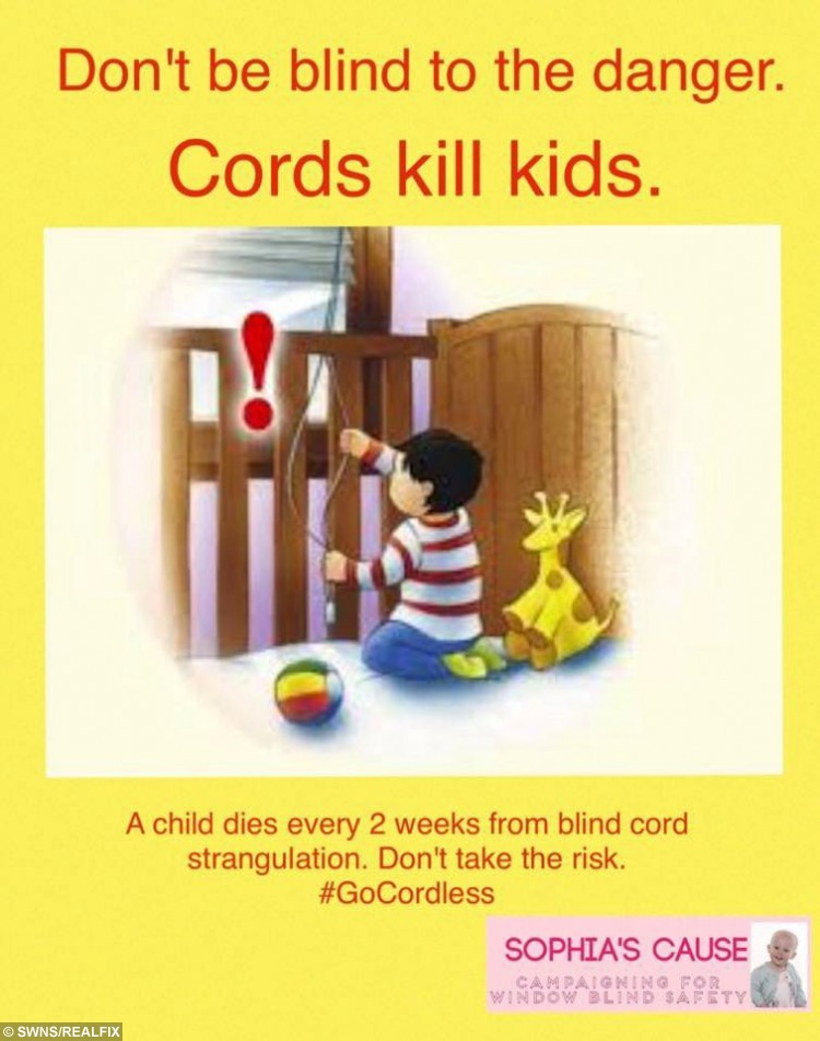 One of the flyers circulated by Chris Parslow and partner Amanda O'Halloran whose daughter Sophia Parslow from Tirley, Gloucestershire was one of the many British children to have died after becoming entangled in a blind cord. See SWNS story SWCORD: Swedish furniture giant Ikea has said it will no longer sell window blinds with cords.  Cords from blinds have been associated with the deaths of young children through strangulation, including Gloucestershire toddler Sophia Parslow.  Sophia's mum Amanda 0ÃHalloran. from Tirley, was left devastated when her 17-month-old daughter died by accidentally hanging herself on the blind cord in her living room in June 2013.  Since then Amanda has campaigned tirelessly for the design of blinds to be outlawed to prevent a similar fate befalling other children.