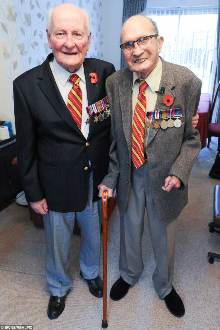 Pictured (R-L) Bob Parks know as Bonny Parks and Herbie Bright meet for the first time in 40 years.  They were best mates, brothers-in-arms à but after losing touch for 40 years, they never realised they were living just three miles from each other.  See MASONS story MNHEROES.  And there were tears, and then beaming smiles, as ex-soldiers Bonny Parks and Herbie Bright, both now pushing 90, met up once more.  In an amazing turn of fate, the Second World War veterans have been reunited four decades on, thanks to a fundraising dinner taking place in Cambridge next week.  The Poppy Dinner, held at Queens' College next Wednesday, is in honour of the Royal Anglian Regiment, and is being organised by city businesswoman Vanessa Burkitt.