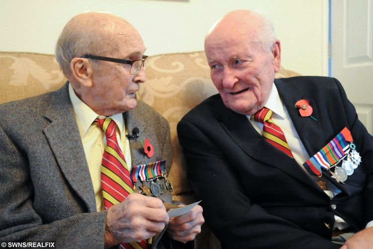 Pictured (L-R) Bob Parks know as Bonny Parks and Herbie Bright meet for the first time in 40 years.  They were best mates, brothers-in-arms à but after losing touch for 40 years, they never realised they were living just three miles from each other.  See MASONS story MNHEROES.  And there were tears, and then beaming smiles, as ex-soldiers Bonny Parks and Herbie Bright, both now pushing 90, met up once more.  In an amazing turn of fate, the Second World War veterans have been reunited four decades on, thanks to a fundraising dinner taking place in Cambridge next week.  The Poppy Dinner, held at Queens' College next Wednesday, is in honour of the Royal Anglian Regiment, and is being organised by city businesswoman Vanessa Burkitt.