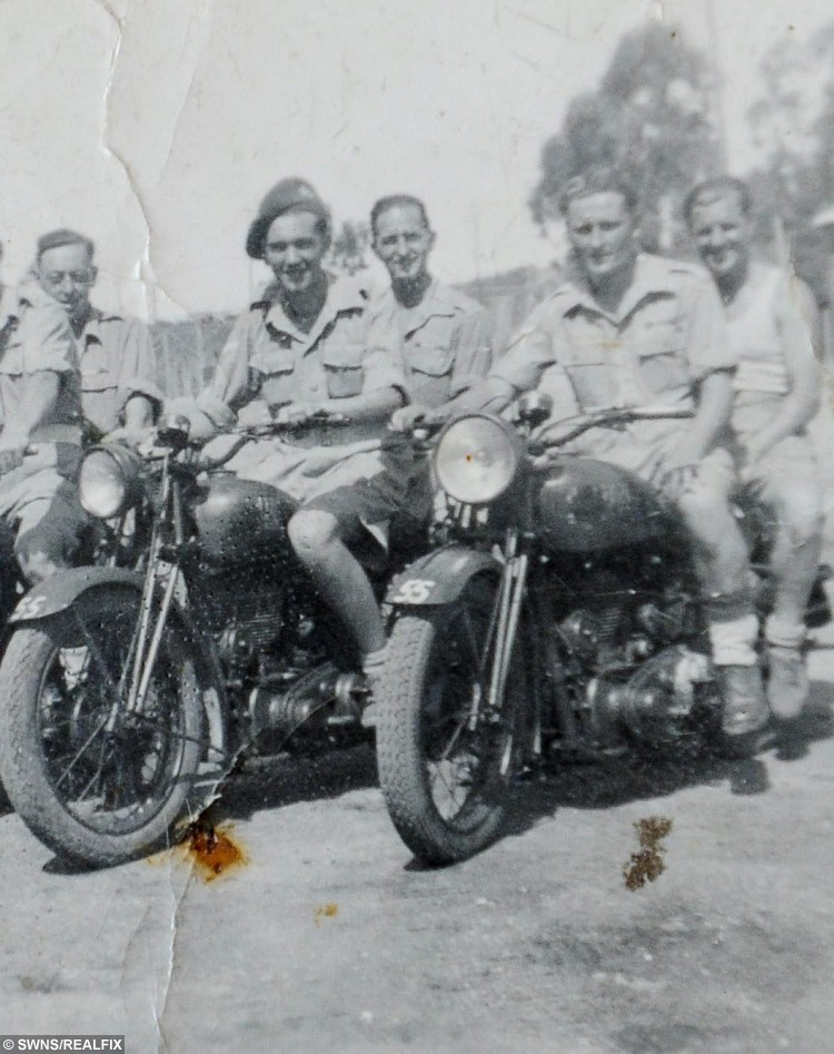 Pictured Bob Parks know as Bonny Parks (Front - L) and Herbie Bright (Front - R) meet for the first time in 40 years.  They were best mates, brothers-in-arms à but after losing touch for 40 years, they never realised they were living just three miles from each other.  See MASONS story MNHEROES.  And there were tears, and then beaming smiles, as ex-soldiers Bonny Parks and Herbie Bright, both now pushing 90, met up once more.  In an amazing turn of fate, the Second World War veterans have been reunited four decades on, thanks to a fundraising dinner taking place in Cambridge next week.  The Poppy Dinner, held at Queens' College next Wednesday, is in honour of the Royal Anglian Regiment, and is being organised by city businesswoman Vanessa Burkitt.