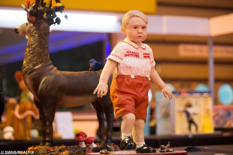 A baby George cake on display at the Cake International show at the NEC, Birmingham. November 6 2015.  See NTI story NTICAKE.