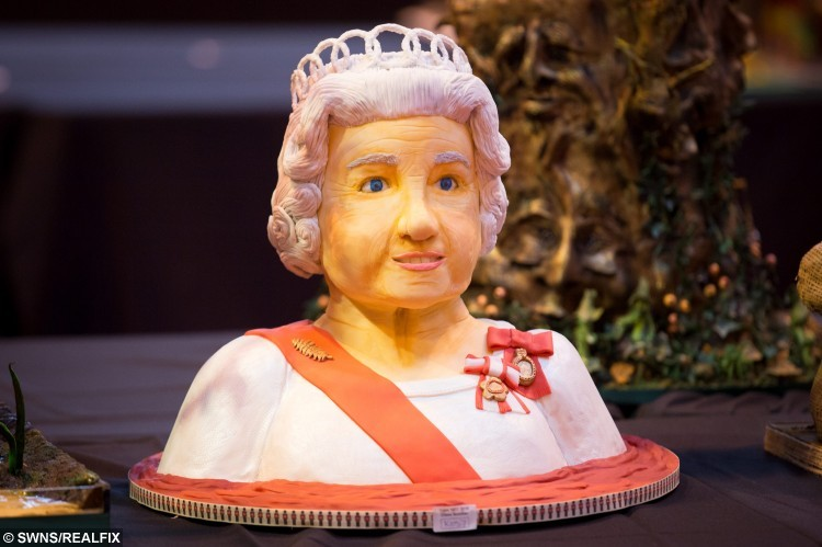 A Queen Elizabeth cake on display at the Cake International show at the NEC, Birmingham. November 6 2015. See NTI story NTICAKE.