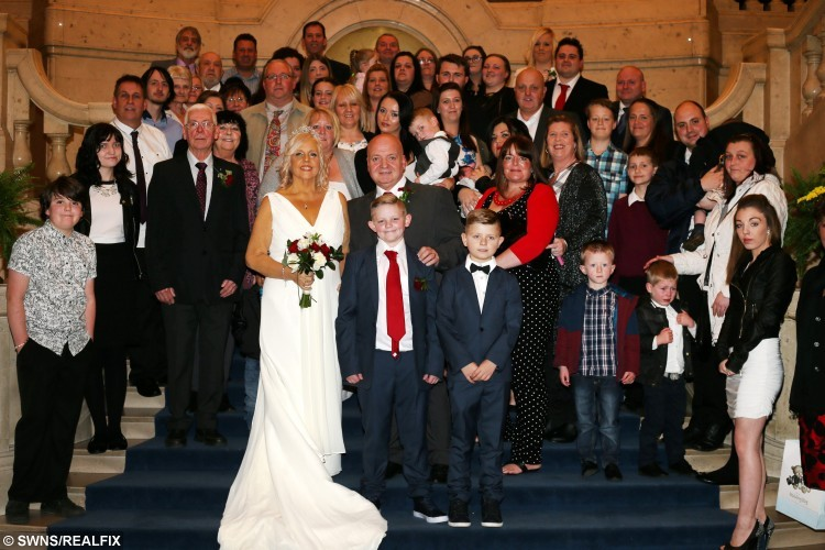 Tragic bride Lorraine Green and bridegroom Shane Green on the day they married - with Lorraine only having weeks left to live. Also pictured are son Harry Marsh, 11, and grandaughter Frankie Green, 3. See News Team story NTIBRIDE: A tragic bride has fulfilled her dying wish and tied the knot with her husband - just days after doctors diagnosed her with terminal cancer and said she had weeks to live. Lorraine Marsh, 53, was going to wed her sweetheart Shane Green, 54, next summer, but when she visited the doctors last Friday (13/11) they told her she was dying. Brave Lorraine thought she was just going to get gallstones removed, but medics said she had pancreatic cancer that had spread to her liver. But friends and family rallied around to donate Ã2,300 to the couple and even gave Lorraine a wedding dress when they brought their wedding forward to Friday (20/11).