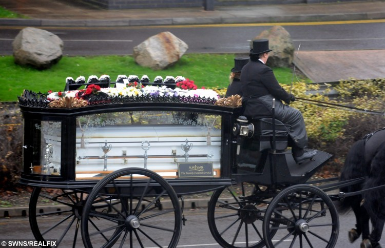 """The funeral of Jocelyn Irwin, 39 and Darran Michael Taylor, 41, (Jocelyn's coffin in pic)  See News Team  copy NTICOUPLE: Tributes have been paid to a couple who were both battling liver disease after the two """"soul mates"""" died - just 27 HOURS apart. Tragic Jocelyn Irwin, 39, who suffered from epileptic fits as a result of her illness, passed away at 4.13pm on October 6. Her partner Darran Michael Taylor, 41, who was working as a self-employed electrician as also he battled liver disease, then died at 7.30pm the next day. Speaking yesterday (Sat), their son Darran Patrick Taylor, 21, said his dad """"gave up"""" because he didn't want to live without his mum."""