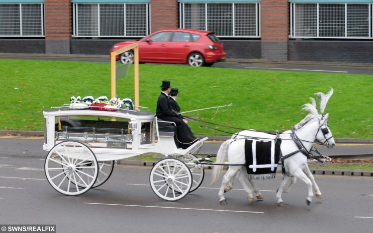 """The funeral of Jocelyn Irwin, 39 and Darran Michael Taylor, 41,( Darran's coffin in pic)  See News Team  copy NTICOUPLE: Tributes have been paid to a couple who were both battling liver disease after the two """"soul mates"""" died - just 27 HOURS apart. Tragic Jocelyn Irwin, 39, who suffered from epileptic fits as a result of her illness, passed away at 4.13pm on October 6. Her partner Darran Michael Taylor, 41, who was working as a self-employed electrician as also he battled liver disease, then died at 7.30pm the next day. Speaking yesterday (Sat), their son Darran Patrick Taylor, 21, said his dad """"gave up"""" because he didn't want to live without his mum."""
